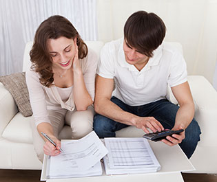Couple going over their finances